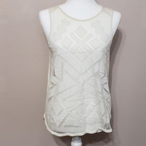 Lucky brand sheer white graphic tank top